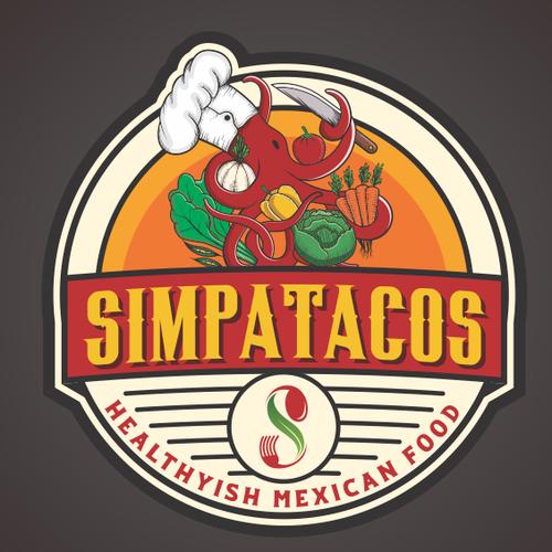 Burrito logo with the title 'Simpatacos'