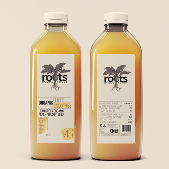 Smoothie packaging with the title 'minimal '