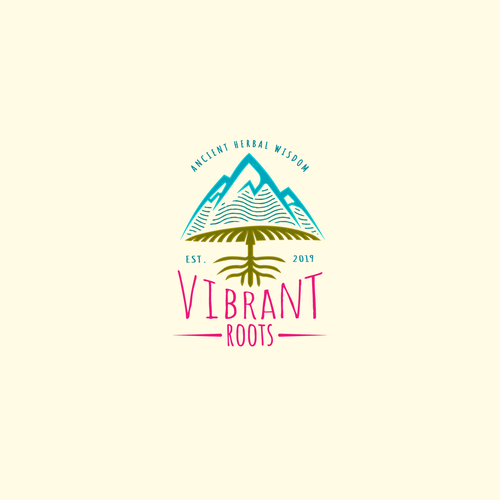 Mushroom logo with the title 'Vibrant Roots'