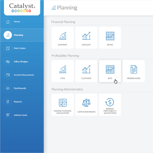 UI design with the title 'Redesign user interface for Catalyst CPM software'