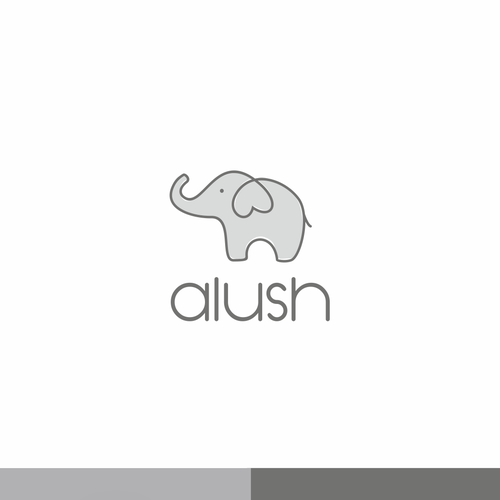 Black and gray logo with the title 'Cute design for baby clothes store'
