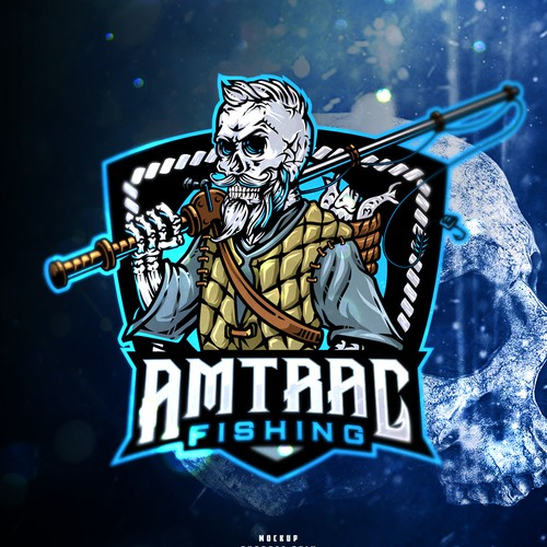 Skull logo with the title ' AMTRAC Fishing'