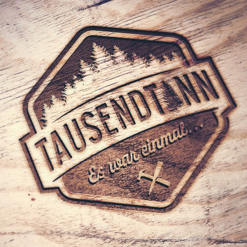 Wood logo with the title 'Tausendtann Logo'