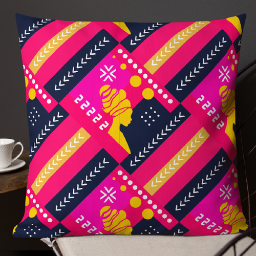 Home furnishing design with the title 'AFRICAN ART throw pillows'