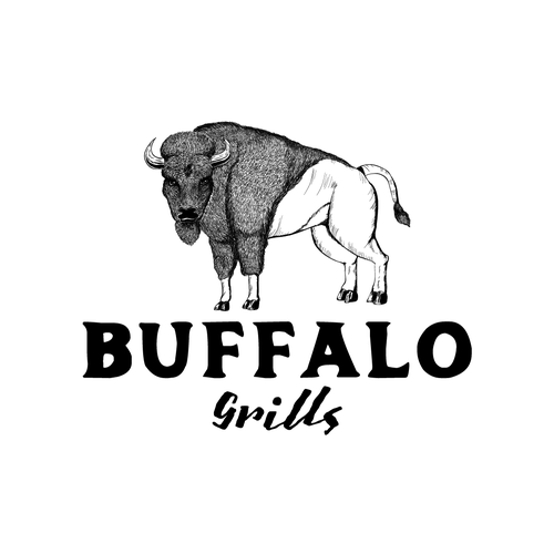 Buffalo design with the title 'BBQ Grills, Smokers, and Accessories Logo design'