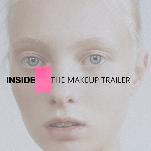 Pink and black design with the title 'Inside The Makeup Trailer Logo Design'