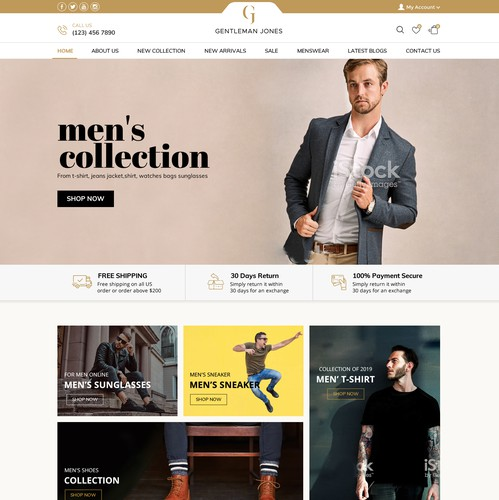 Responsive design with the title 'High end design for premium ecommerce menswear store'