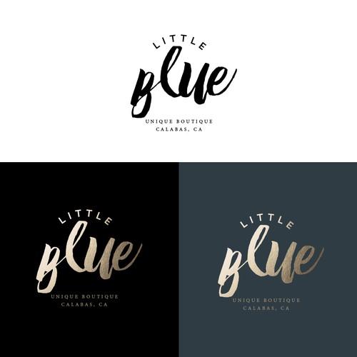 Gold foil design with the title 'Little Blue Boutique Logo'