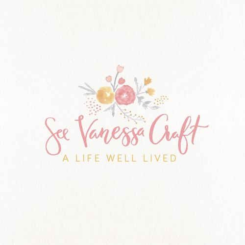 Blossom logo with the title 'Feminine hand painted logo for a blog'