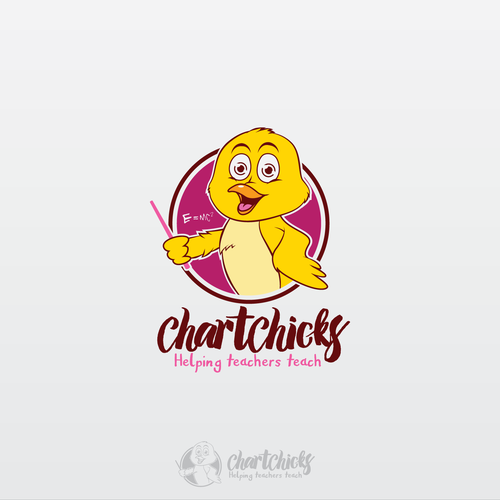 Teacher logo with the title 'chick character for ChartChicks'