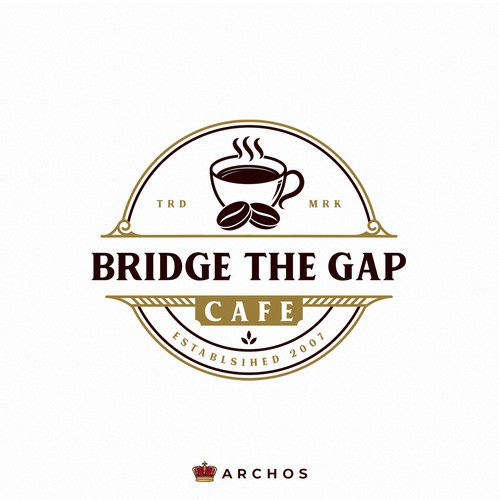 Coffee logo with the title 'Bridge the gap cafe'
