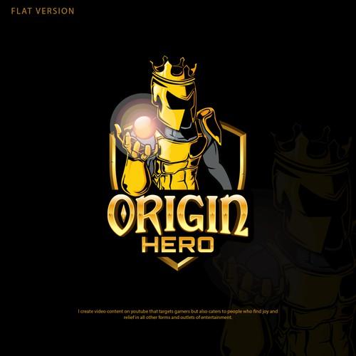 Metallic design with the title 'Origin Hero'