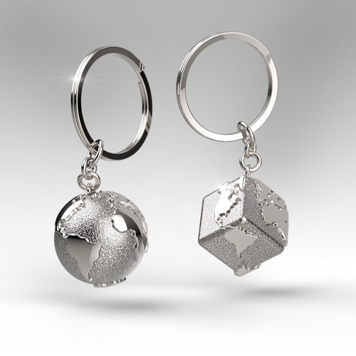Earth design with the title 'Creation and 3D modeling of a silver keychain'