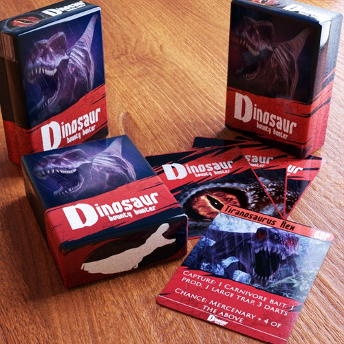Dinosaur artwork with the title 'Dino card game art'