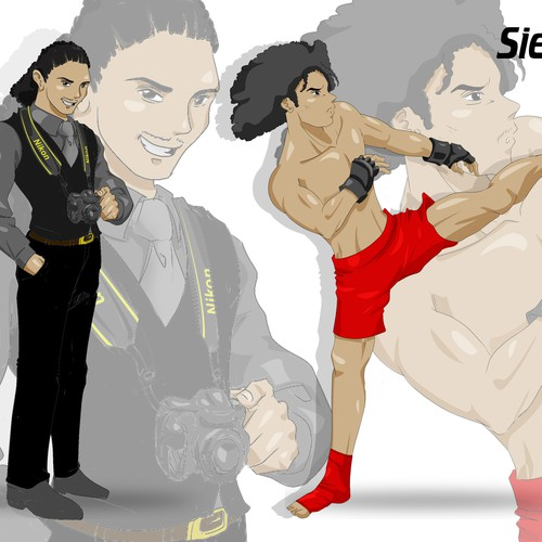 Anime design with the title 'Create An Alter-Ego Japanese Anime Illustration (Photographer/MMA Fighter)'