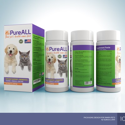 Create a pet food supplement label for dogs and cats