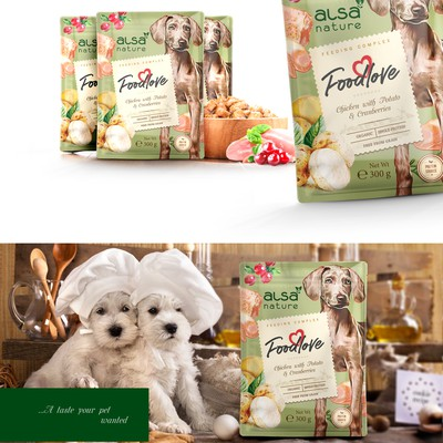 Dog food for your lovely pets, packaging design