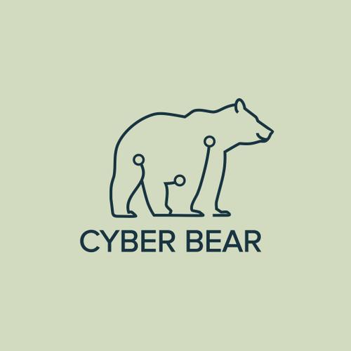 Bear head logo with the title 'Need a logo for an App development company, Cyber Bear'