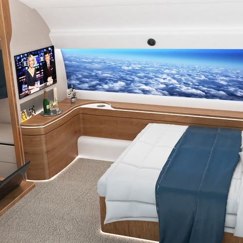 Cinema 4D design with the title 'Private jet bedroom design'