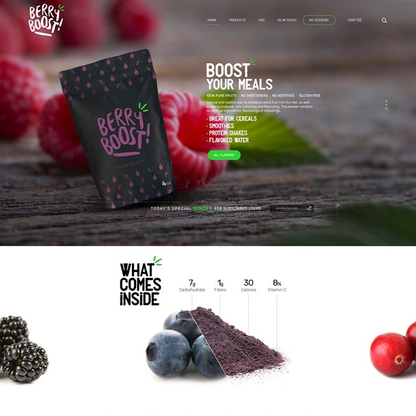 Drink website with the title 'BERRY BOOST! Webdesign'