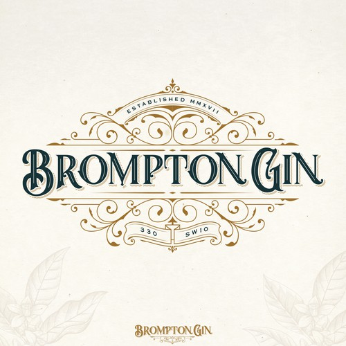 Whiskey logo with the title 'BROMPTON GIN LOGO PROPOSAL'