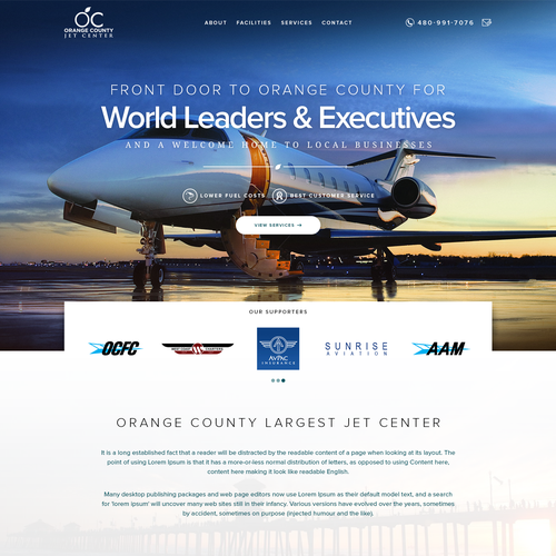 Airport design with the title 'Landing Page design for Orage County Airport'