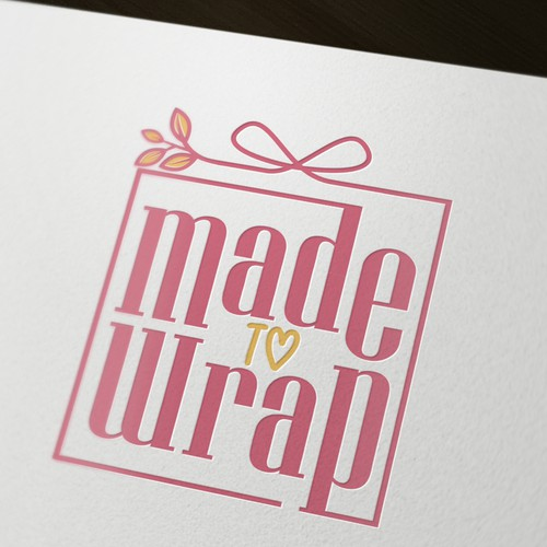 Flower heart logo with the title 'Logo for a wrapping paper'