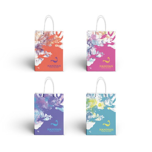Smoke packaging with the title 'Colorful concept for Gifts Bag'