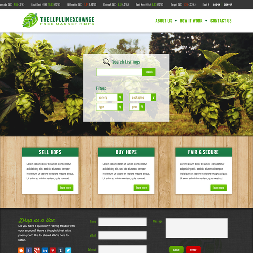 Beer website with the title 'Hop Exchange'