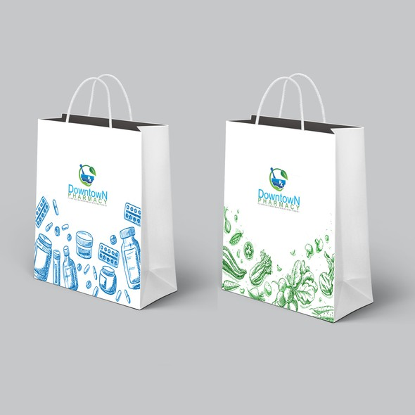 Pharmaceutical packaging with the title 'Shopping bag for Downtown Pharmacy'