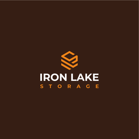 Storage design with the title 'Cubical logo for self-storage units: Iron Lake Storage'