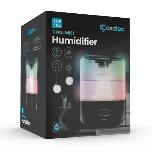 Chic packaging with the title 'Top Fill Humidifier'