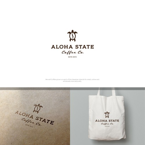 Hawaii surf logo with the title 'Aloha State Coffee Co.'