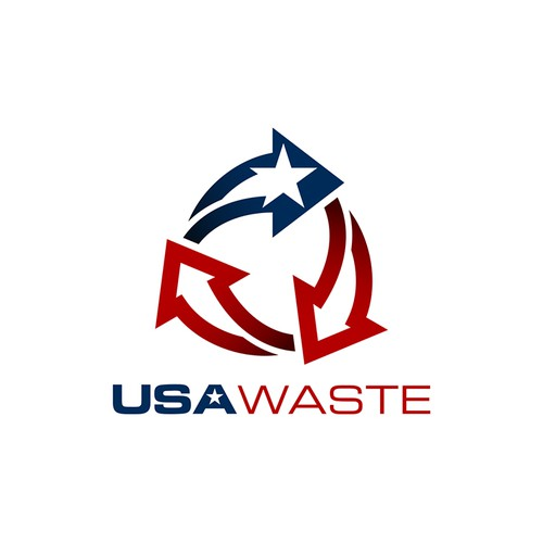 Recycling design with the title 'Simple and Bold Logo for USA Waste'