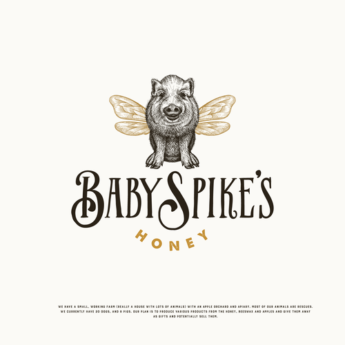 Honey design with the title 'Little Baby Spike pig wants to be a bee :)'