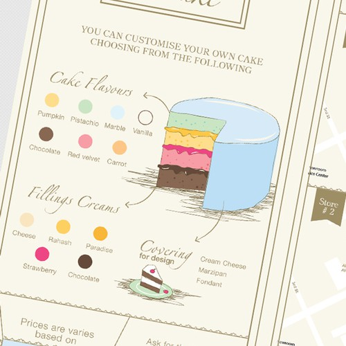 Wedding design with the title 'Brochure for a Cake Boutique'
