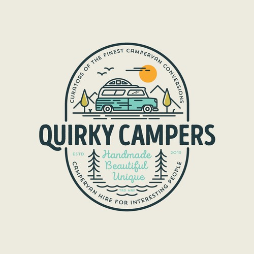Nature logo with the title 'Quirky Campers'