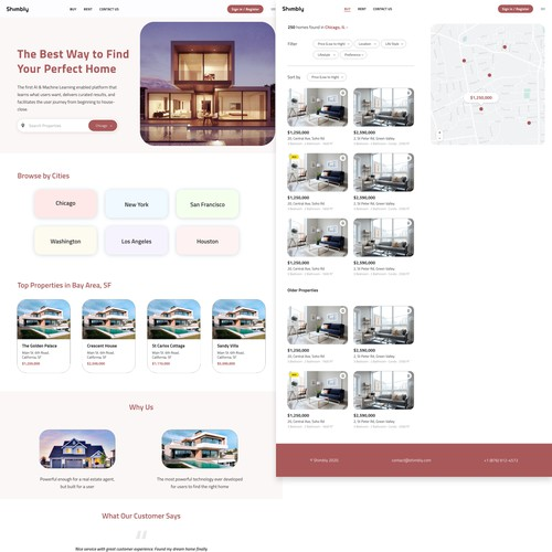 Product design website with the title 'Concept Website design for Property/Real Estate business'