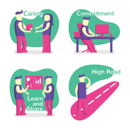 Vanilla design with the title 'Core Values Illustration'