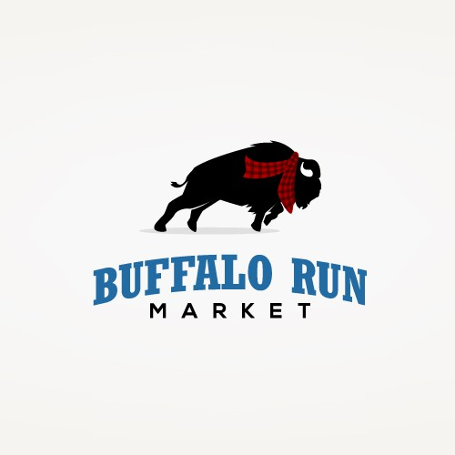 Buffalo logo with the title 'Classic Logo Design for Buffalo Run Market'
