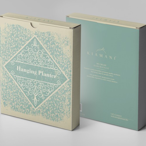 Plant packaging with the title 'Hanging Planter by Kiamani'