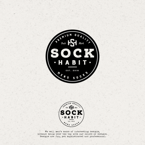 Sock design with the title 'Logo Design for Sock Habit'