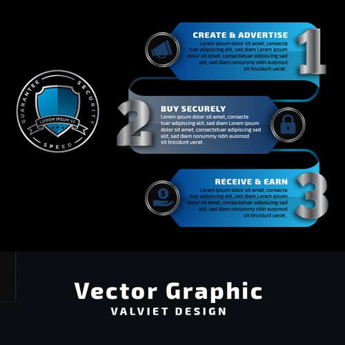 Step-by-step design with the title 'Vector Graphic Design'
