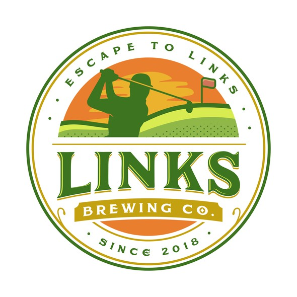 Country club logo with the title 'Links Brewing Co.'