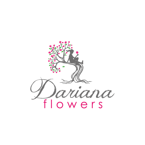 Flower logo with the title 'girl sitting on a flower tree'
