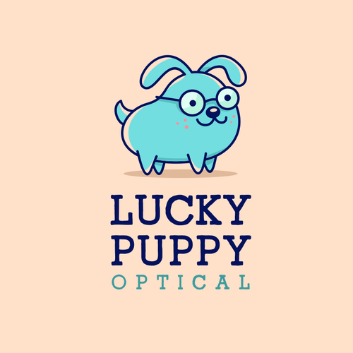 Design with the title 'LUCKY PUPPY OPTICAL'