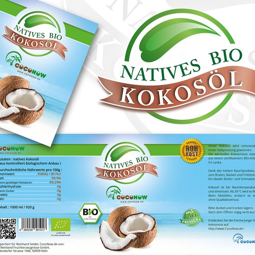 Coconut oil label with the title 'Logo and label for coconut oil'