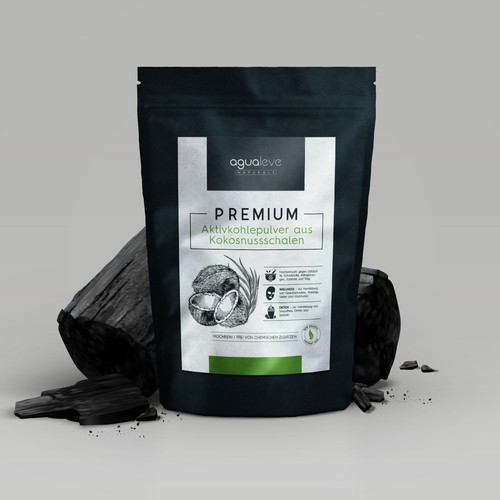 Dark label with the title 'Charcoal powder packaging'