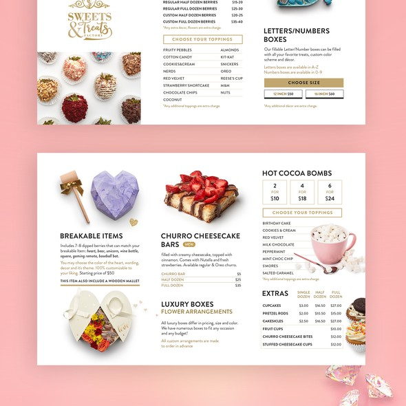 Gift box design with the title 'Sweets treats factory Menu '