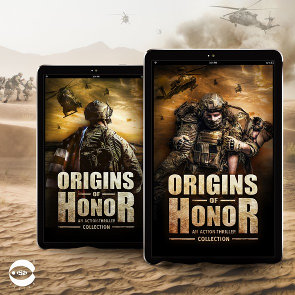 """Military book cover with the title 'eBook Covers for """"Origins of Honor""""'"""